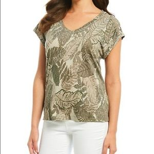 DEMOCRACY, Palm leafs design, v-neck blouse NWT